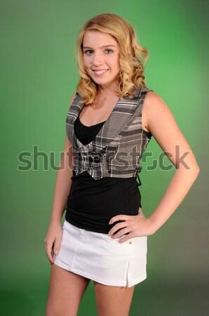 Kız gözlük güzel kız kısa saç kadın saç Stok fotoğraf © disorderly