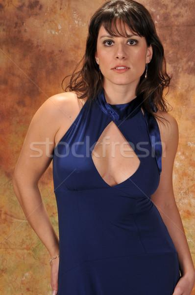 Barna hajú barna szépség kék ruha lány Stock fotó © disorderly