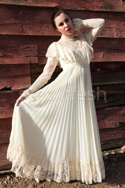 платье довольно брюнетка Vintage девушки женщины Сток-фото © disorderly