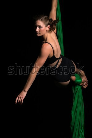 Yeşil fishnet ince genç kadın vücut Stok fotoğraf © disorderly
