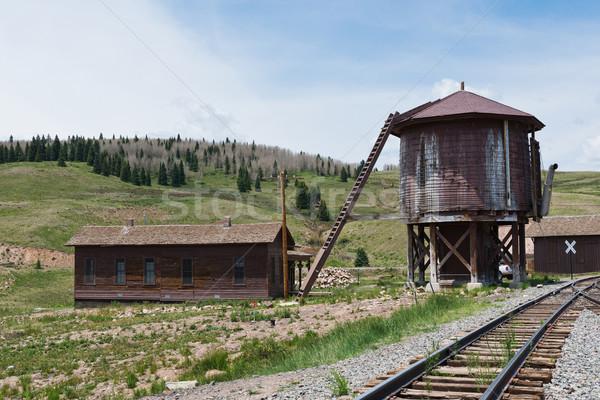 Víz torony keskeny kaliber vasúti sinek szállítás Stock fotó © disorderly