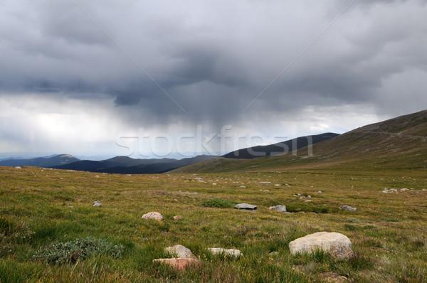 Foto stock: Lago · parque · montanha · tempestade · plantas