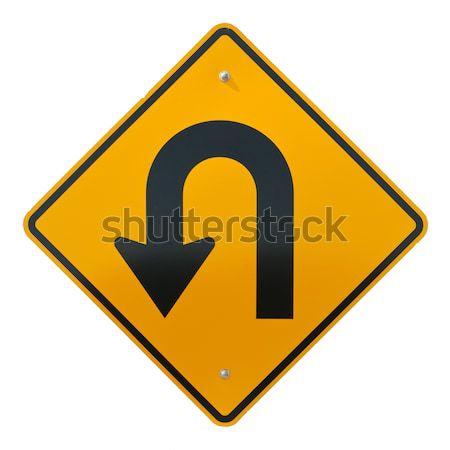 Adelante senalización de la carretera aislado blanco signo diamantes Foto stock © disorderly