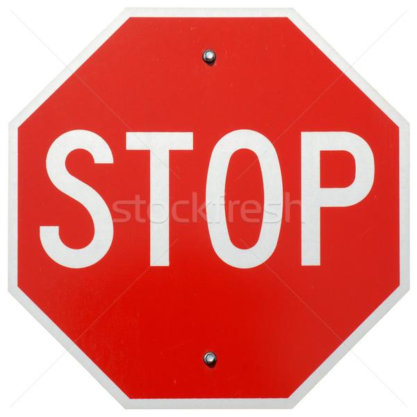остановки знак остановки дороги металл красный изолированный Сток-фото © disorderly