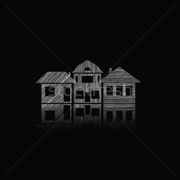 Gebouwen illustratie huizen huis boom Stockfoto © djemphoto