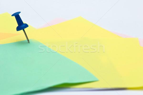 Nota document schrijven post pin vel Stockfoto © djemphoto