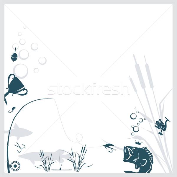 Vissen relevant objecten voedsel zwarte silhouet Stockfoto © djemphoto
