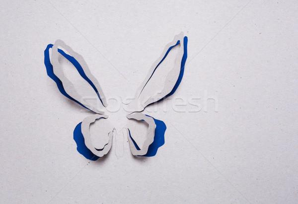 Vlinder origami afbeelding abstract Blauw voorjaar Stockfoto © djemphoto