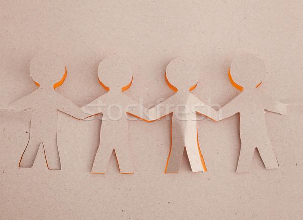Menselijke origami business groep zwarte silhouet Stockfoto © djemphoto