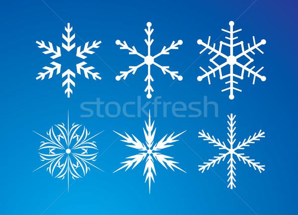 Sneeuwvlokken ingesteld Blauw vector abstract ontwerp Stockfoto © djemphoto