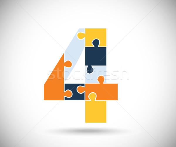 Aantal vier kleur grijs achtergrond kinderen Stockfoto © djemphoto