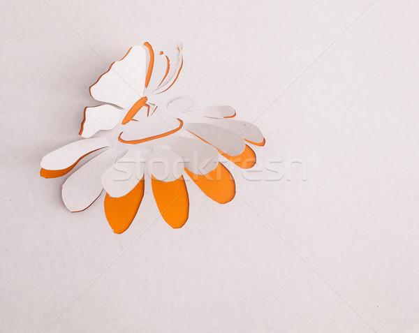Stockfoto: Origami · bloem · vlinder · gelukkig · teken · geschenk