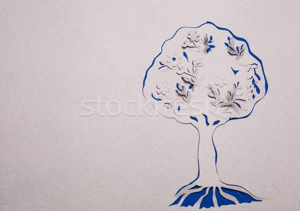 Boom handgemaakt afbeelding abstract Blauw business Stockfoto © djemphoto