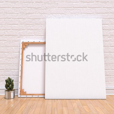 Mock up canvas frame with plant, floor and wall. 3D Stock photo © djmilic