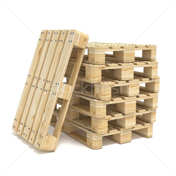 Stock photo: Wooden Euro pallets. 3D