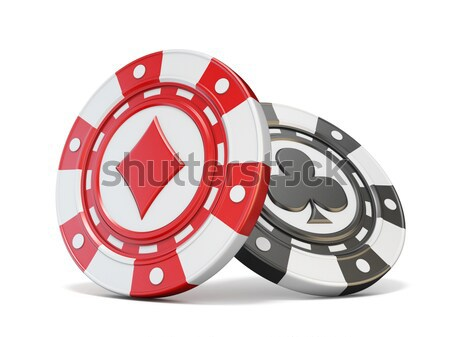Red gambling chip sign with diamond on it. 3D Stock photo © djmilic