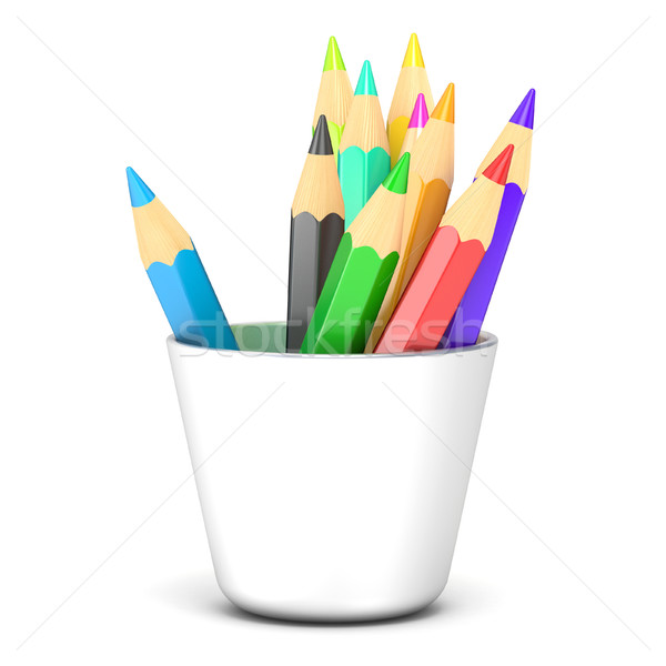 Colored pencils in a white holder. 3D Stock photo © djmilic