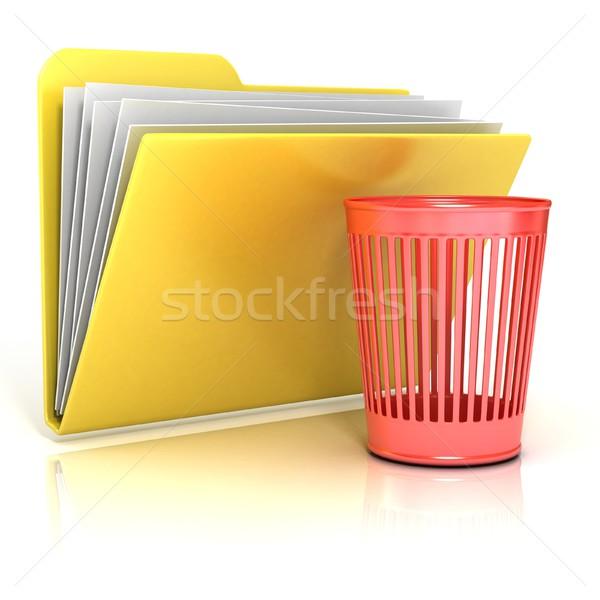 Empty red recycle bin folder icon, 3D Stock photo © djmilic