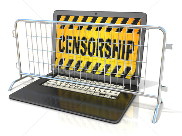 Black laptop with CENSORSHIP sign on screen, and steel barricade Stock photo © djmilic
