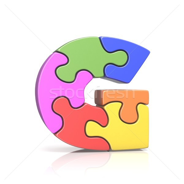 Puzzle jigsaw letter G 3D Stock photo © djmilic
