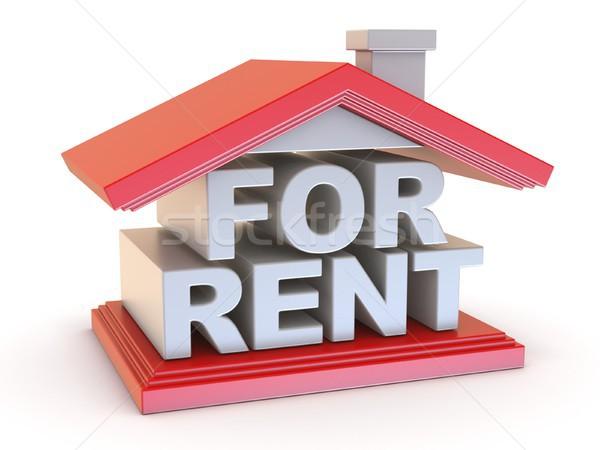Alugar casa assinar vista lateral 3D 3d render Foto stock © djmilic