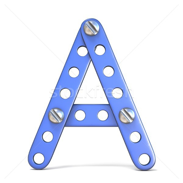 Alphabet made of blue metal constructor toy Letter A 3D Stock photo © djmilic