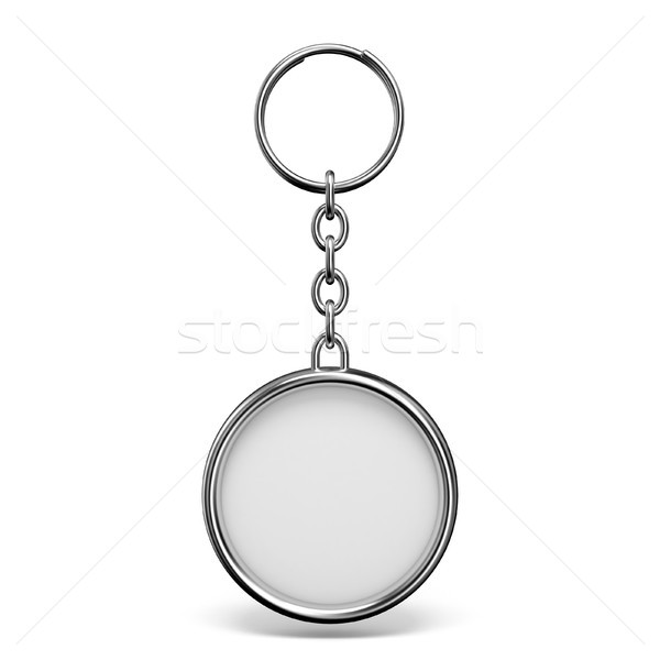 Blank metal trinket with a ring for a key circle shape 3D Stock photo © djmilic