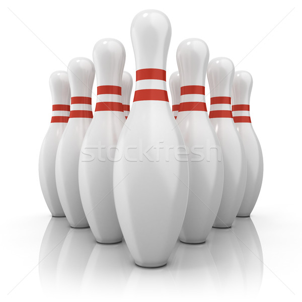 Bowling pins with red stripes Stock photo © djmilic