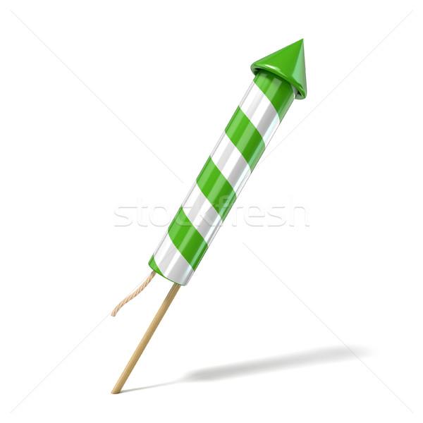 Green fireworks rocket. 3D Stock photo © djmilic