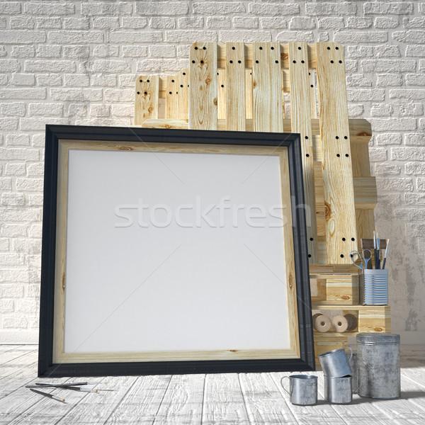 Mock up posters frames in art atelier, 3D Stock photo © djmilic