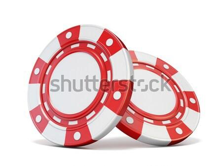 ストックフォト: 赤 · ギャンブル · チップ · 3D · 3dのレンダリング · 孤立した
