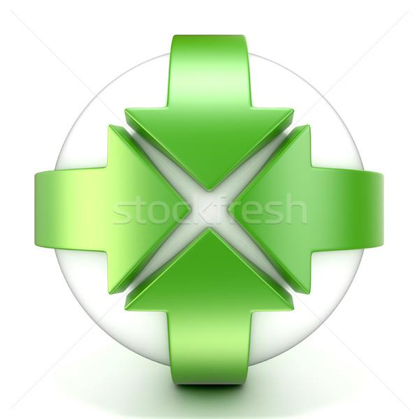 Zöld rotáció nyíl jelzés 3D 3d illusztráció izolált Stock fotó © djmilic