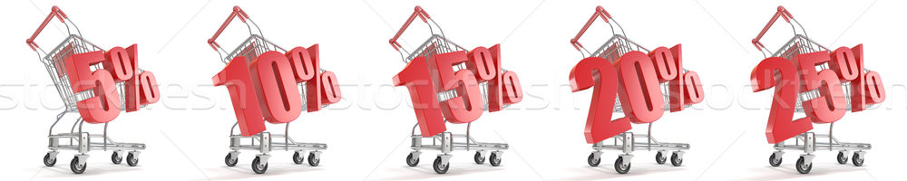 5%, 10%, 15%, 20%, 25%  percent discount in front of shopping ca Stock photo © djmilic