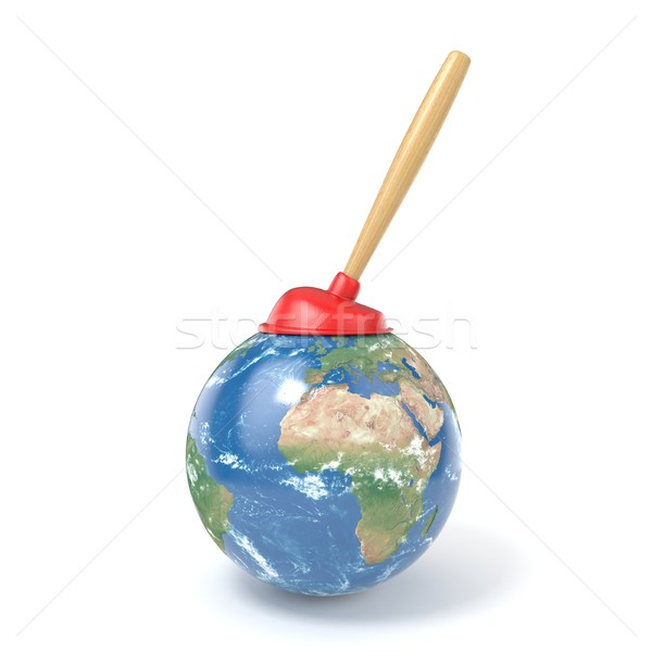 Red kitchen plunger on planet Earth 3D Stock photo © djmilic