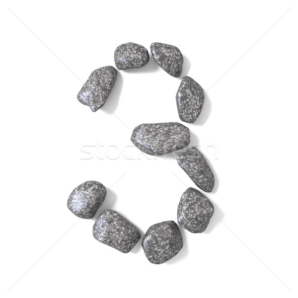 Font made of rocks NUMBER three 3 3D Stock photo © djmilic