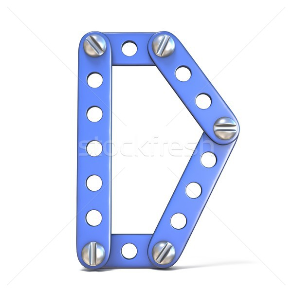 Alphabet made of blue metal constructor toy Letter D 3D Stock photo © djmilic