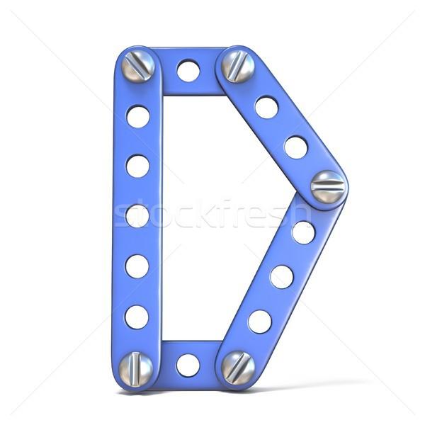 ábécé kék fém játék d betű 3D Stock fotó © djmilic