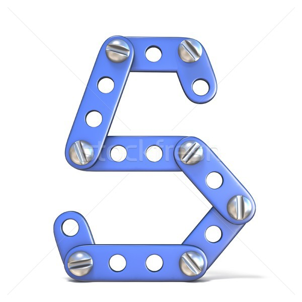 Alphabet made of blue metal constructor toy Letter S 3D Stock photo © djmilic