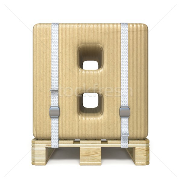 Cardboard box font Number 8 EIGHT on wooden pallet 3D Stock photo © djmilic
