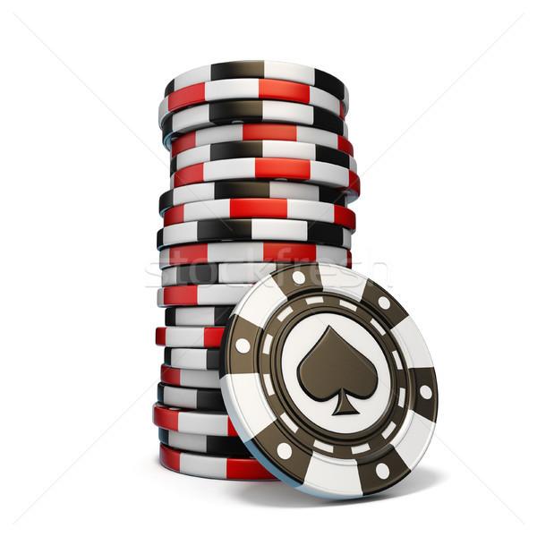 Glücksspiel Chips ein schwarz Spaten Stock foto © djmilic