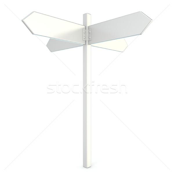 Biały kierunkowskaz 3D 3d ilustracja odizolowany Zdjęcia stock © djmilic