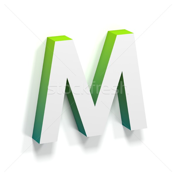 Green gradient and soft shadow letter M Stock photo © djmilic