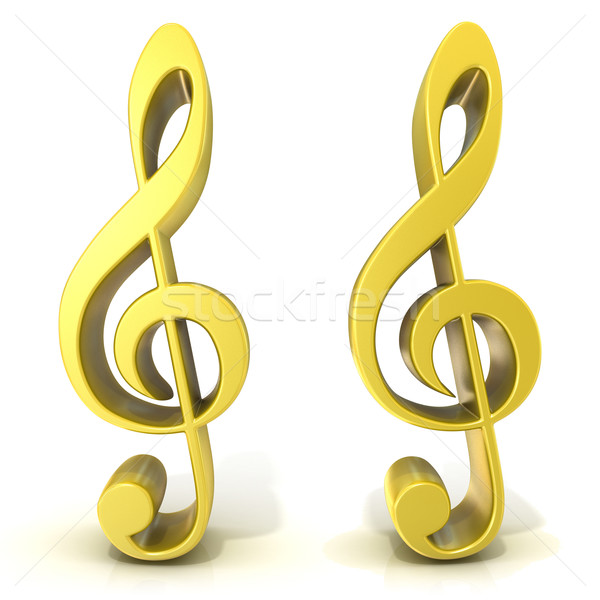 Golden treble clefs Stock photo © djmilic