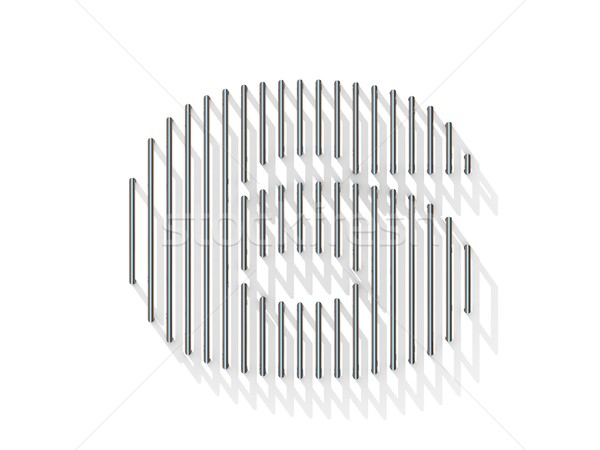Silver, steel wire font. Number SIX 6 Stock photo © djmilic