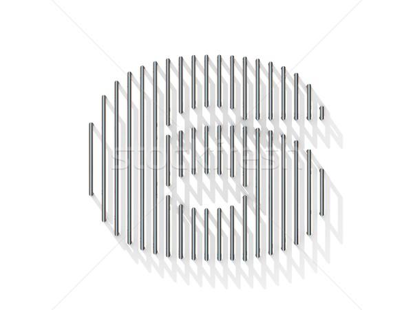 Zilver staal draad doopvont aantal zes Stockfoto © djmilic