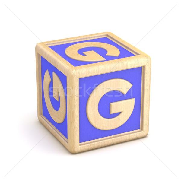 Stock photo: Letter G wooden alphabet blocks font rotated. 3D