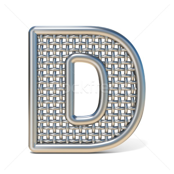 Outlined metal wire mesh font LETTER D 3D Stock photo © djmilic