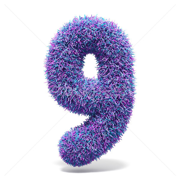 Purple faux fur number 9 NINE 3D Stock photo © djmilic