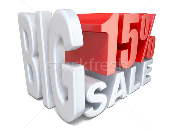 White red big sale sign PERCENT 15 3D Stock photo © djmilic