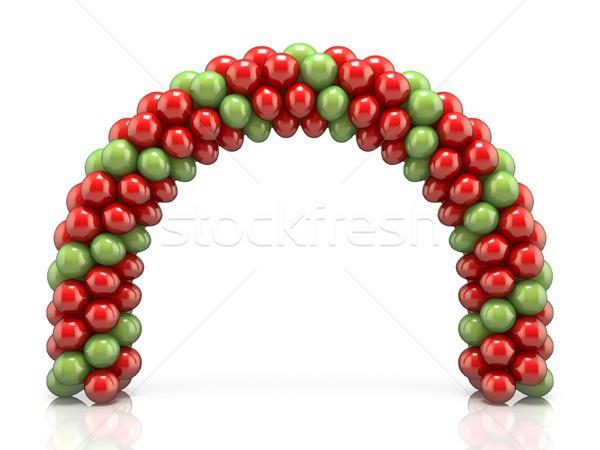 Boog Rood groene ballonnen 3D 3d render Stockfoto © djmilic